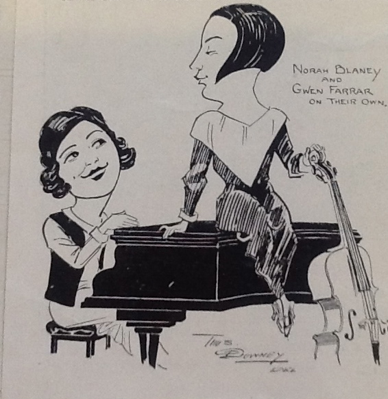 Illustration of Gwen and Norah sitting on a piano