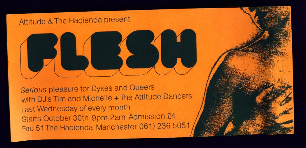 Flyer for the first ever Flesh night at the Haçienda, 1991. Designed by Craig Simpson