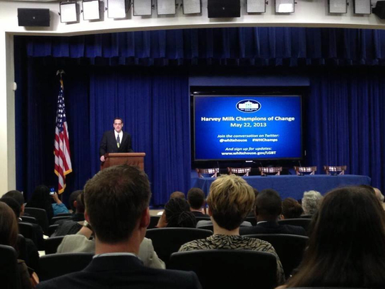 Stuart Milk addressing the White House